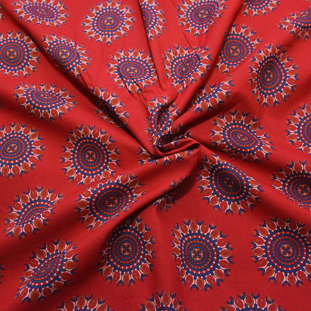 Red-Blue and White Circular Design Block Print Cotton Fabric-14203