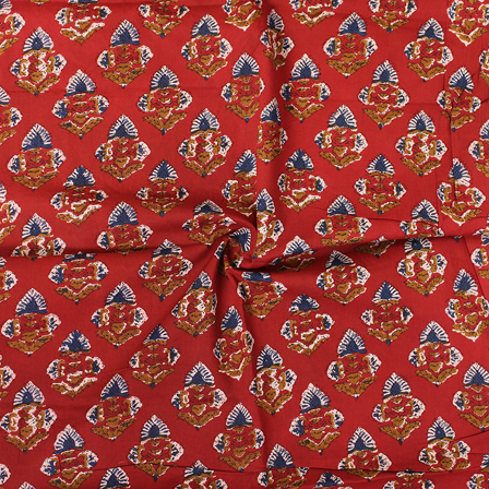 Red-Blue and White Floral Pattern Block Print Cotton Fabric-14298