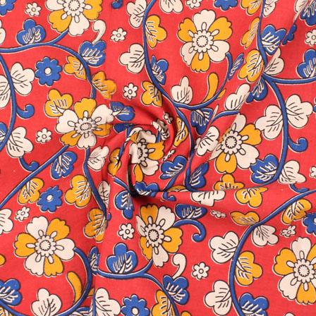 Red-Blue and White Flower Kalamkari Cotton Fabric-10175