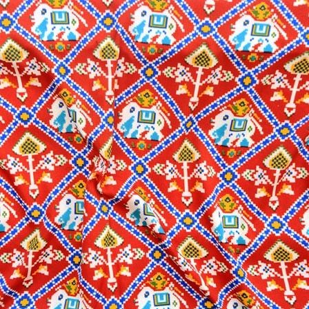 Red Blue and Yellow Elephant Crepe Silk Fabric-18223