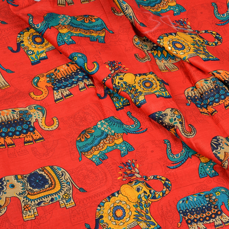 Red-Blue and Yellow Elephant Design Jam Cotton Silk Fabric-75034