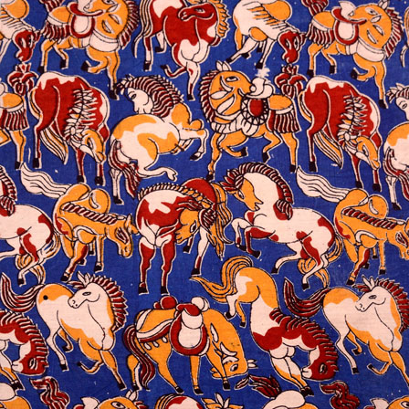 Red-Blue and Yellow Horse Design Kalamkari Cotton Fabric-5509