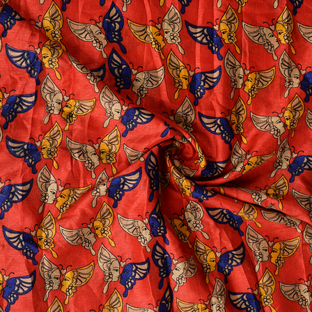 Red-Blue and Yellow Kalamkari Manipuri Silk Fabric-16353