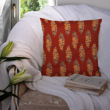 Red-Brown and Black Cotton Cushion Cover-35026