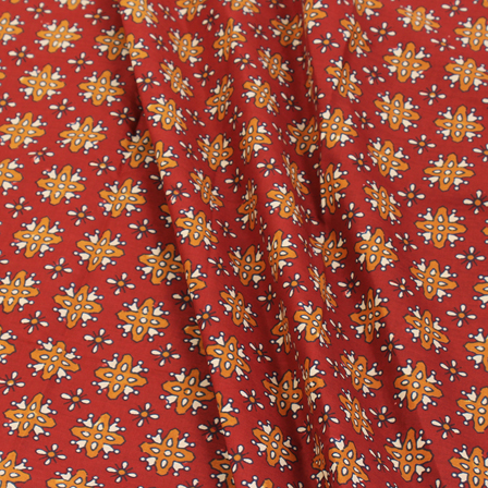Red-Brown and White Unique Pattern Block Print Cotton Fabric-14284