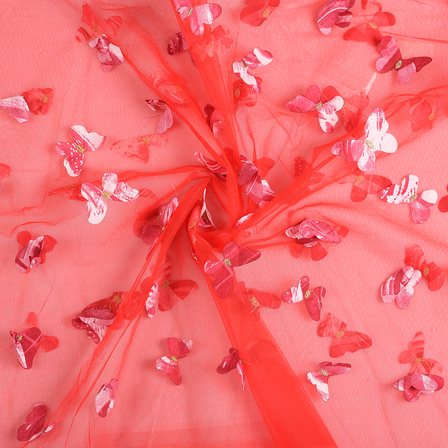 Red Butterfly Embroidery Net Fabric-60673