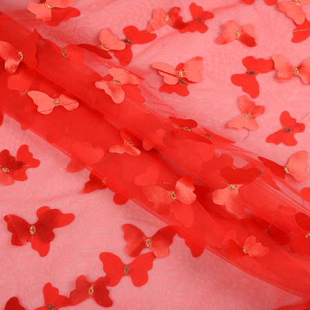 Red Butterfly Embroidery Net Fabric -60761
