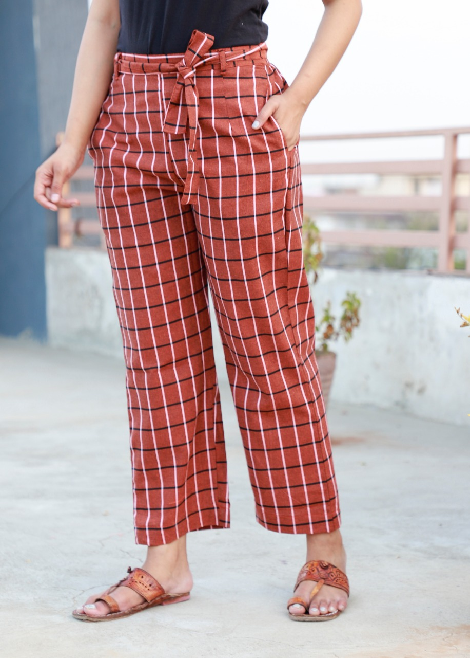Red Cotton Checks Women Pants with Loose Belt-33244