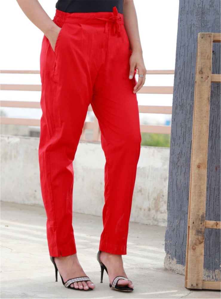 Red Cotton Khadi Narrow Pant-33470