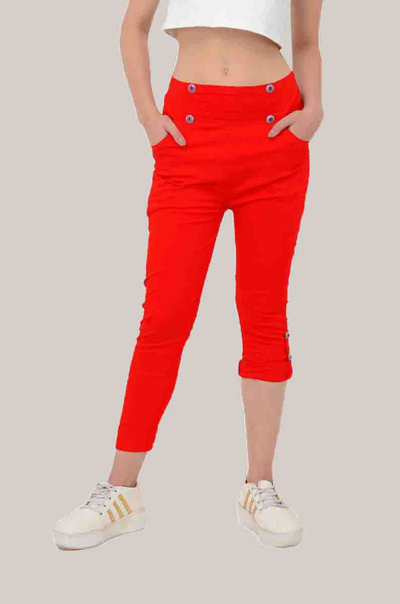 Red Cotton Lycra Roll Up Pant-33491