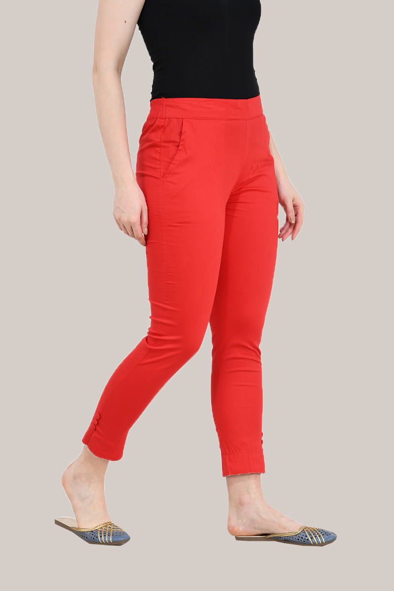 Red Cotton Lycra Trippy Pant-33514