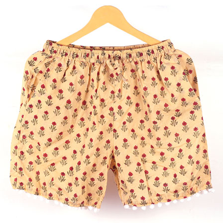 Red Cream Flower Cotton Block Print Short-14668