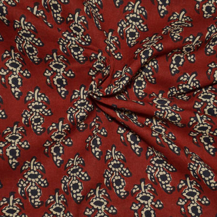Red-Cream and Black Leaf Pattern Block Print Cotton Fabric-14045