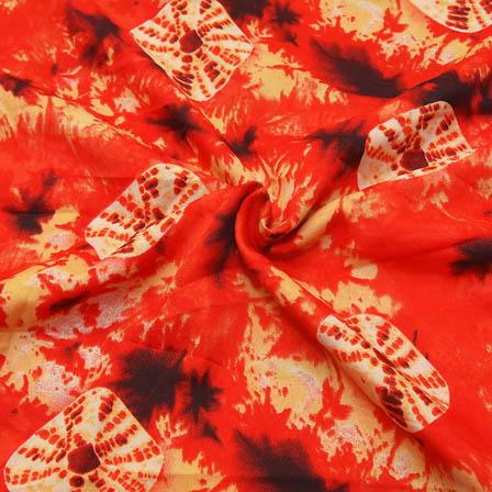 Red-Cream and Black Unique Design Crepe Fabric -18046