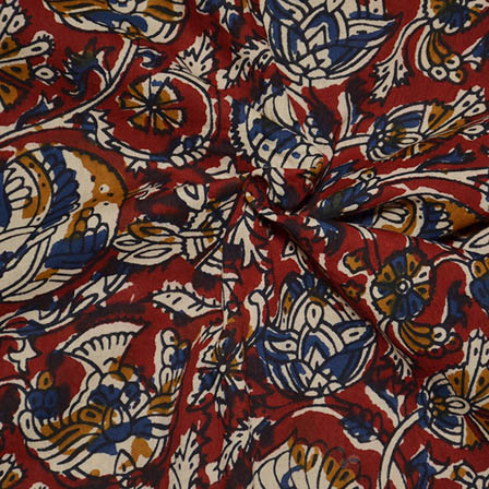 Red-Cream and Blue Floral Shape Kalamkari Block Print Fabric-14044