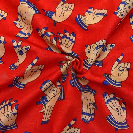 Red-Cream and Blue Hand Mudra Design Kalamkari Manipuri Silk-16054