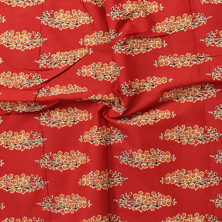Red-Cream and Brown Floral Pattern Block Print Cotton Fabric-14320