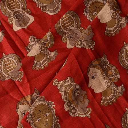 Red-Cream and Gray Kuchipudi Face Kalamkari Manipuri Silk Fabric-16343