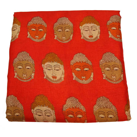 Red-Cream and Green Buddha Pattern Kalamkari Manipuri Silk-16012