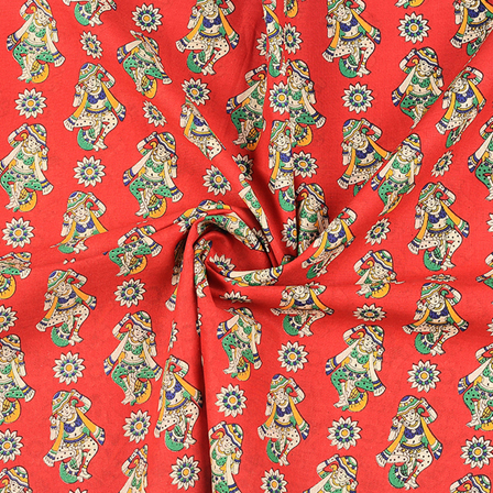 Red-Cream and Green Cotton Kalamkari Fabric-10107