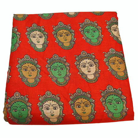 Red-Cream and Green Durga Devi Pattern Kalamkari Manipuri Silk-16010