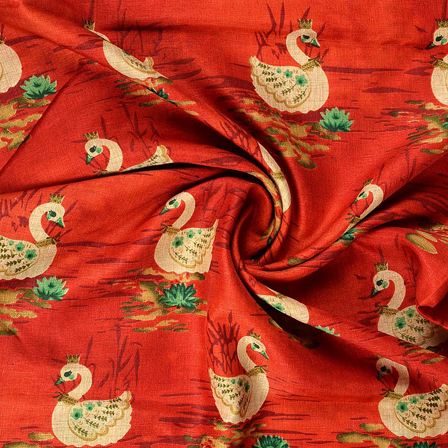 Red-Cream and Green Kalamkari Manipuri Silk Fabric-16213