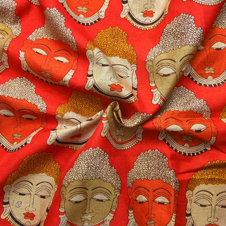 Red-Cream and Orange Buddha Face Pattern Kalamkari Manipuri Silk-16044