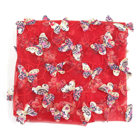 Red-Cream and Pink Butterfly Net Embroidery Fabric-60846