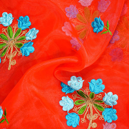 Red Cyan Floral Embroidery Organza Silk Fabric-22011