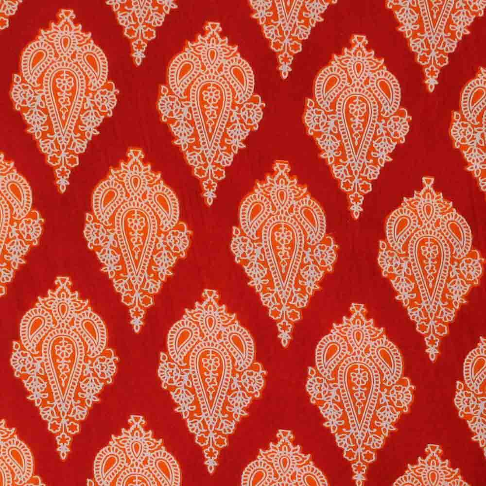 Red Floral Printed Indian Cotton Running Fabric