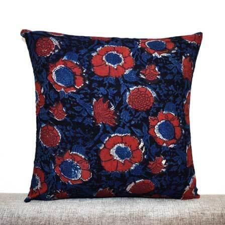 Red Flower Kalamkari Pattern Cotton Cushion Cover