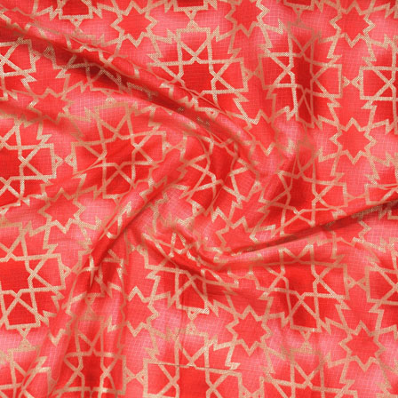 Red Golden Kota Doria Fabric-25138
