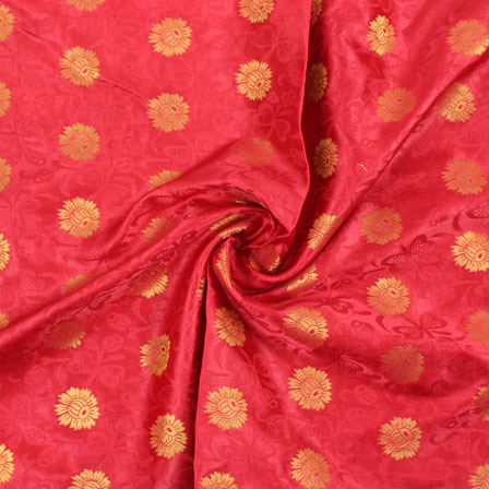Red Golden Brocade Satin Silk Fabric-9036