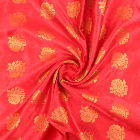Red Golden Brocade Satin Silk Fabric-9053