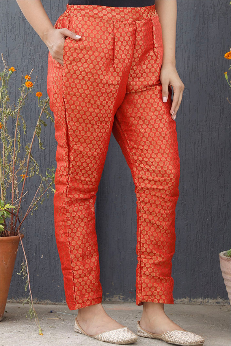 Red Golden Brocade Silk Ankle Women Pant-34195