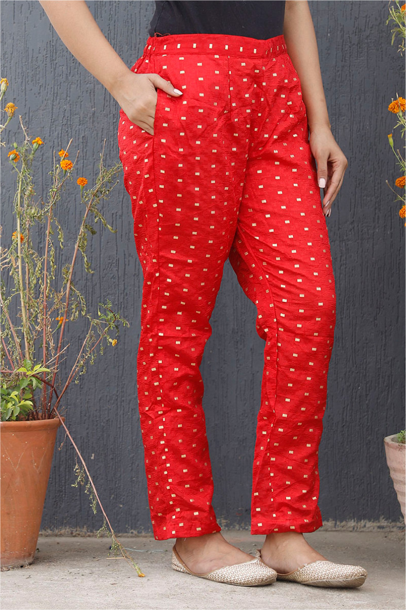 Red Golden Brocade Silk Ankle Women Pant-34201