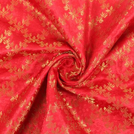 Red Golden Brocade Silk Fabric-8987