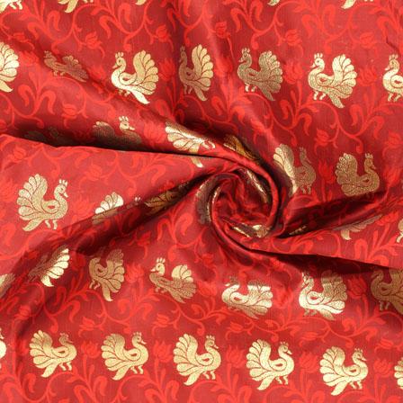 Red Golden Brocade Silk Fabric-8999