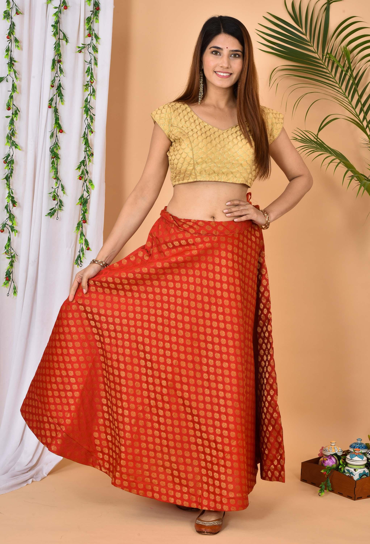 Red Golden Brocade Silk Wedding Lehenga-36979