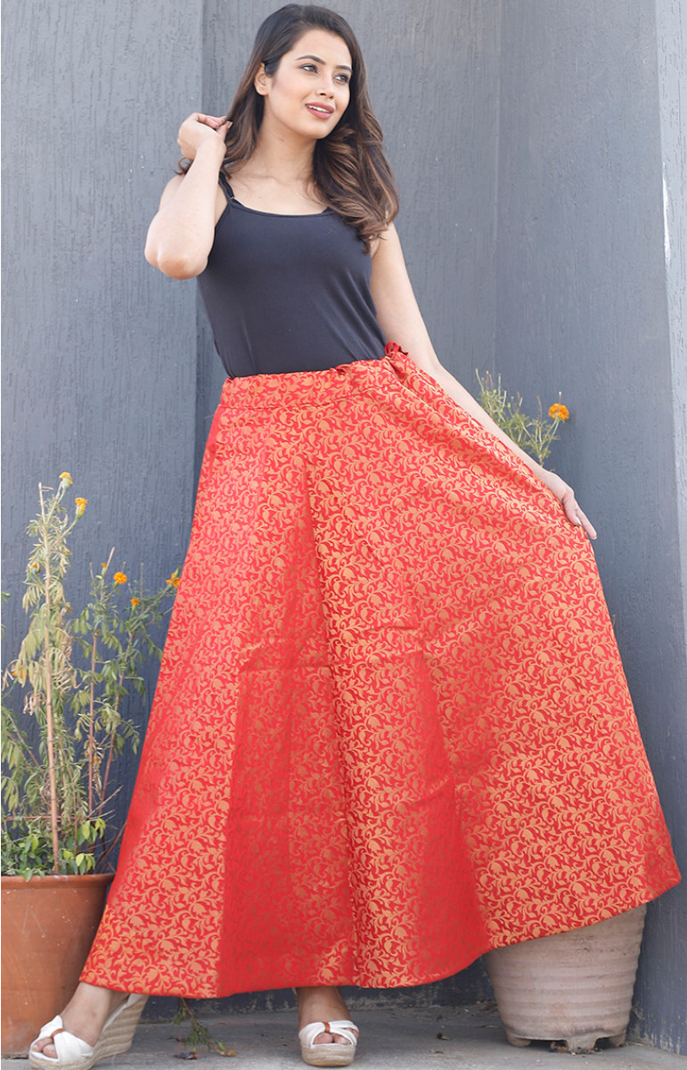 Red Golden Brocade silk Lehenga-34222-(Free Size)