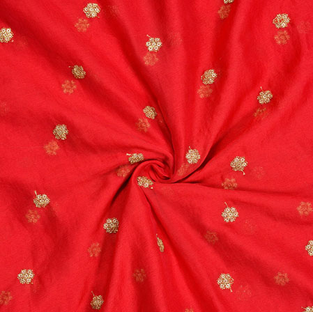 Red Golden Embroidery Silk Chiffon Fabric-18653