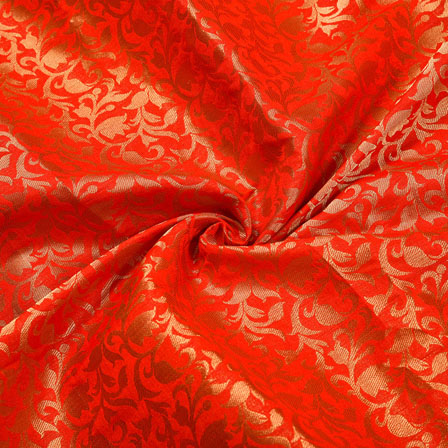 Red Golden Floral Chanderi Zari Silk Fabric-12245