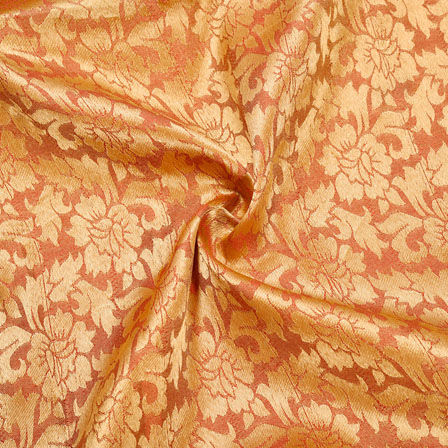 Red Golden Floral Chanderi Zari Silk Fabric-12521