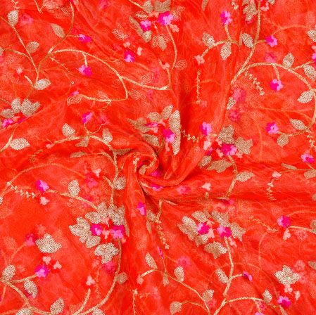Red Golden Floral Organza Embroidery Fabric-22160