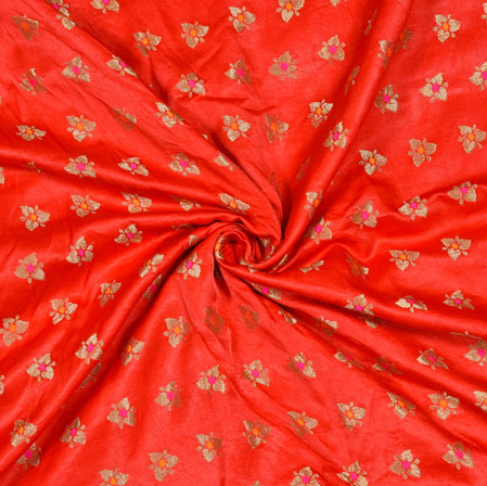 Red Golden Floral Satin Brocade Silk Fabric-12806