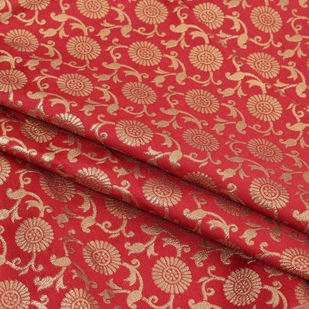 Red Golden Flower Brocade Silk Fabric-9074