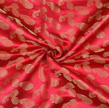 Red Golden Instrumental Brocade Silk Fabric-12798
