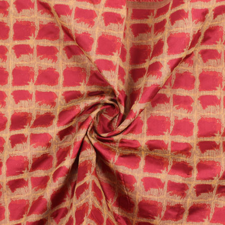 Red Golden Jacquard Cotton Fabric-9006