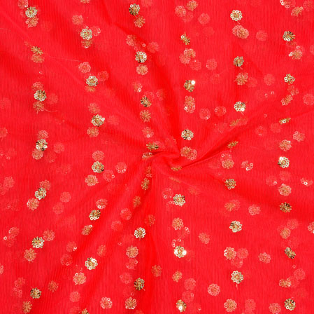 Red Golden Embroidery Silk Net Fabric-18670