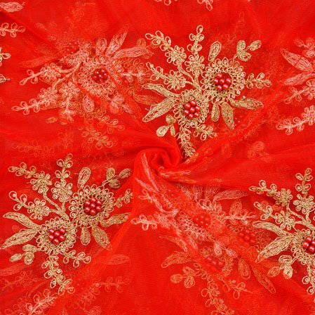 Red Golden Embroidery Silk Net Fabric-18708